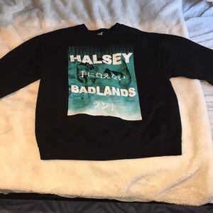 Halsey Badlands Black Crewneck Sweater Size Large